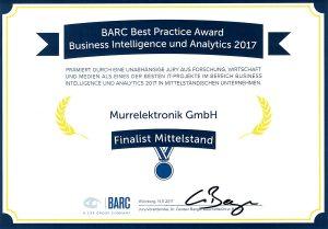 """11/2017: Murrelektronik GmbH ist mit der SAP BI Lösung Sesam unter den Finalisten des """"BARC Best Practice Award"""", Kategorie BI im Mittelstand"""
